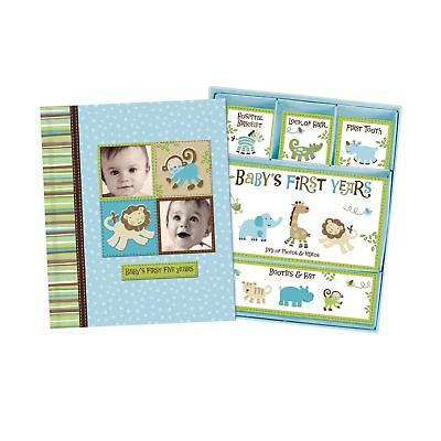 Silly Monkey Baby Boy - Baby's First Five Years Keepsake Record Book with Storag