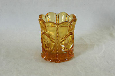 Vintage Amber Color Lg Wright Glass Columbia Pattern Toothpick Holder