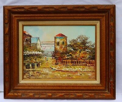 Vintage Oil Painting on Canvas by L. Alexis Landscape Old City Framed Art