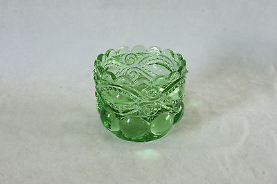 Vintage Lg Wright Green Glass Eyewinker Toothpick Holder Open Salt Cellar