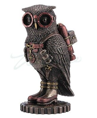 Steampunk Owl with Jetpack Statue Sculpture on Gears Colonel J. Fizziwig Figure