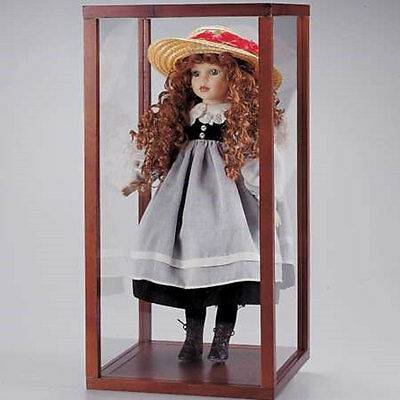 """New In Box Wood & Acrylic display show Case for 28"""" doll 30H x 14W x 14D inch"""