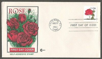 Us Fdc 1993 Self-Adhesive 29C Rose Stamp Cc Cachet First Day Of Issue Cover Tx