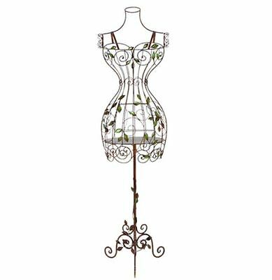 Vintage Dress Form Wire Mannequin Elegant Metal Scroll Female Torso with Stand
