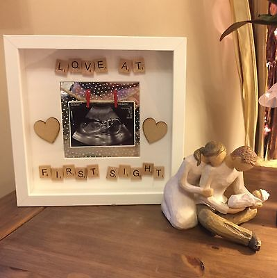 Handmade New Baby Scan Scrabble Letter Gift Photo White Frame Love At First Sigh
