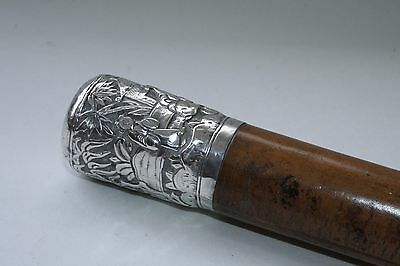 Antique Extremely Rare Beautiful Ornate Silver Topped Walking Stick Cane
