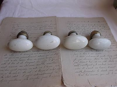 French 4 of porcelain cabinet door knobs  classic antique / vintage to project