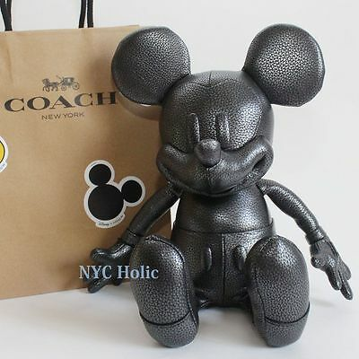 New Disney X Coach F59151 Small Mickey Doll Pebble Leather Black Limited Edition