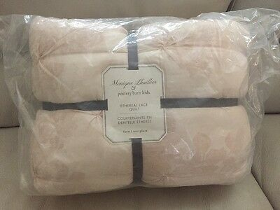 NEW Pottery Barn Kids Monique Lhuillier ETHEREAL LACE Twin Quilt Blush Pink