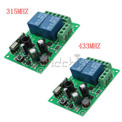 315MHz/433MHz 220V 2 CH Channel Wireless RF Relay Remote Control Switch Receiver