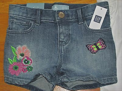 NWT Baby Gap Girl's Embroidered Jean Shorts Size 4T/4Yrs