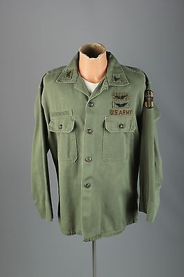 Vtg Men's 60s 70s US Army Vietnam War Sateen Shirt Jacket W Patches sz L #3061