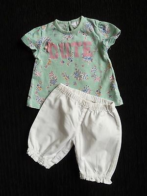 Baby clothes GIRL 0-3m NEXT/Monsoon outfit aqua/pink short sl top/white trousers