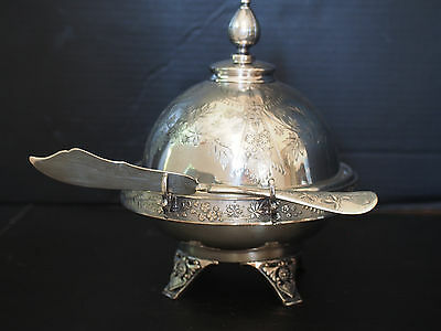 Antique Victorian Meriden Footed Pedestal Domed Engraved Cheese Butter Dish 4 pc