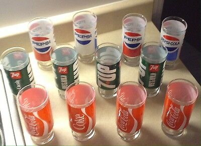 Vintage Coca Cola, Coke, 7up, Pepsi pedestal glasses