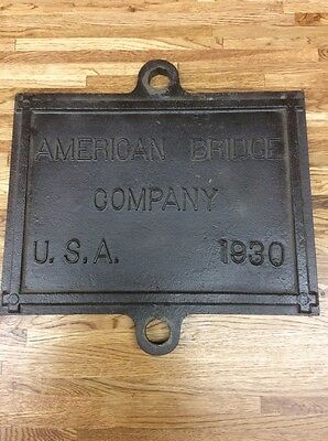 AMERICAN BRIDGE COMPANY Cast Iron Bridge  Plaque Vintage Advertising Sign