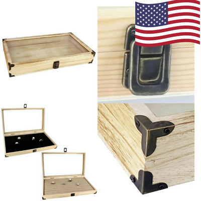 Jewelry Display Case Natural Wood Mooca Large TEMPERED Glass Top Lid Metal Clip