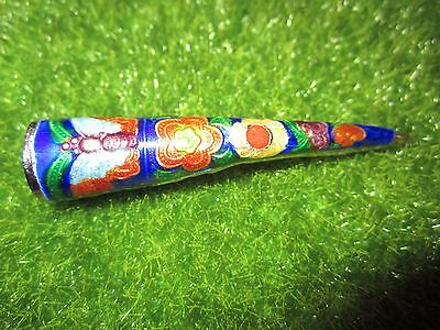 Chinese Enamel Nail Guard w Butterfly & Flower Cloisonne Silver Vintage/Antique