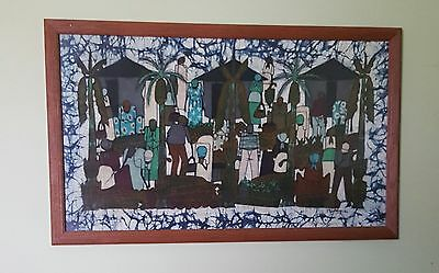 "Vintage African Batik Oak Wood Framed Art on Fabric  Gambia  35"" X 21"