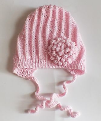 Baby Girl hat Bonnet Pink soft acrylic yarn knitted Baby Girl 0-3 months