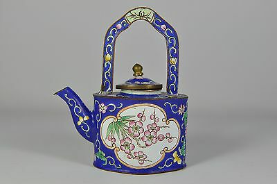 #7 Fine Vintage China Chinese Painted Enamel On Copper Teapot Scholar Art
