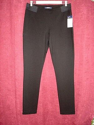 CHAPS Pants Women's Size Large Black Ponte Leggings Pants NEW $59