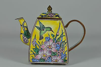 #3 Fine Vintage China Chinese Painted Enamel On Copper Teapot Scholar Art