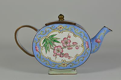 #6 Fine Vintage China Chinese Painted Enamel On Copper Teapot Scholar Art