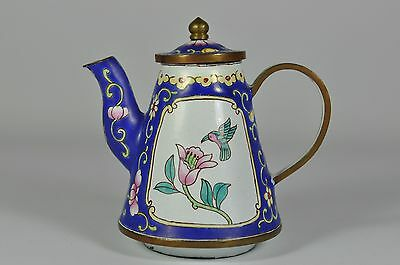 #4 Fine Vintage China Chinese Painted Enamel On Copper Teapot Scholar Art