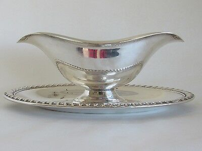 Silverplate Gravy Sauce Boat With Attached Underplate