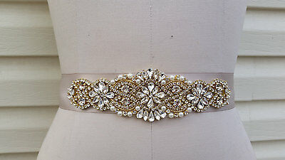"Wedding Dress Sash Belt - GOLD Crystal Pearl Sash Belt = 7 1/4"" long"