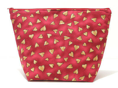 Medium project bag, red knitting bag with hearts, craft storage organiser