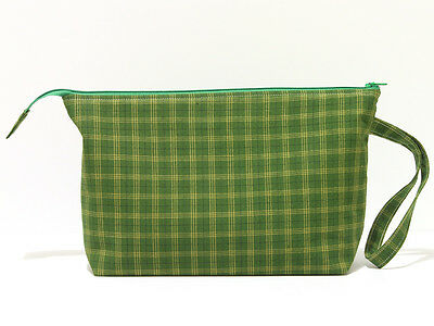 Zippered tartan knitting storage bag, green and yellow plaid project bag