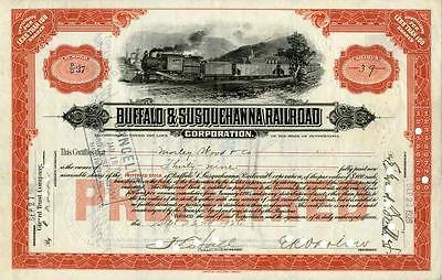 1920s Buffalo & Susquehanna RR Preferred Stock Certificate