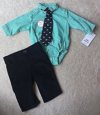 NWT just one you by carters outfit / checkered top with tie, corduroys - Size nb