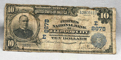 1901 $10 The Peoples National Bank OF Elwood City Blue Seal Note! Charter 8678!