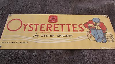 Very Nice Vintage Nabisco Oysterette Crackers Metal Sign By Ande Rooney
