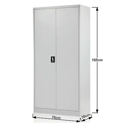 Steel Storage Cabinet 168cm Metal Garage Office Stationery Cupboard File