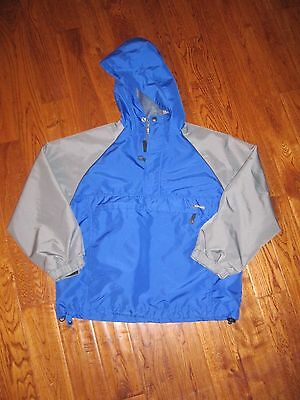 Old Navy Youth Boys Size Large Hooded Half Zip Pullover Windbreaker Jacket Blue