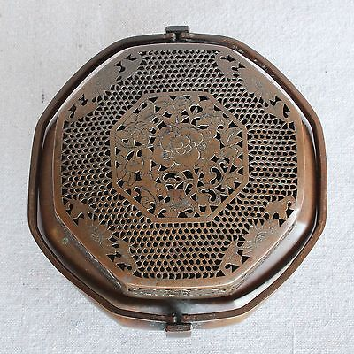 Antique 19th Century Qing Dynasty Chinese Copper Hand Warmer Handled Pot