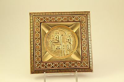 Vtg Tobacco Persian Art Brass Wood Framed Red Inlaid Khatam Marquetry Ashtray