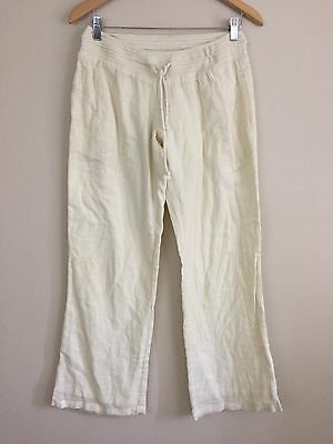 Rip Curl Women's Pants Elastic Waist Beige Sz M Wide Leg 100% Cotton