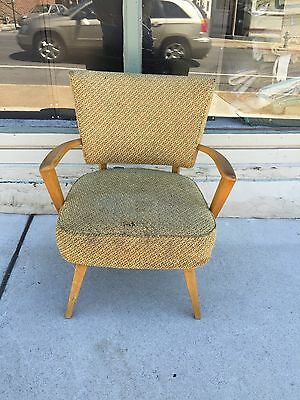 Antique Mid Century Modern Vintage Heywood Wakefield Upholstered Arm Chair