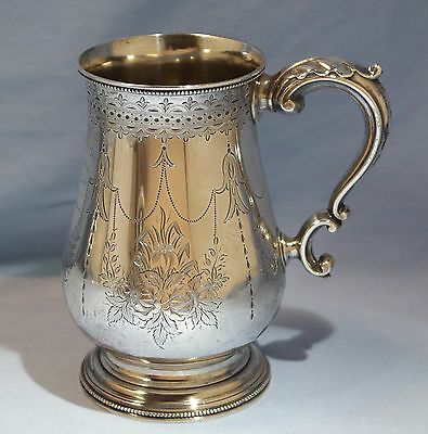 English Sterling Silver Bright Cut Large Cup by Josiah & James Williams C. 1871