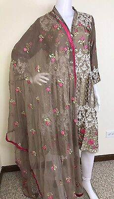 Pakistani Indian Salwar Kameez Party Wear Embroidered Pure Silk M, L