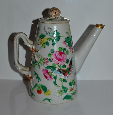 Antique Chinese Famille Rose Porcelain Coffee? Pot 19th C Qing