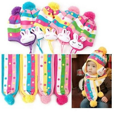 AU 2Pcs Baby Girl Toddler Kid Knit Warm Winter Hat Scarf Beanie Ear Flap Cap Set
