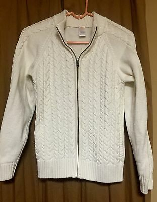 Gymboree Girls L 10-12 Ivory Cable Knit Zip Front Cardigan Sweater EUC