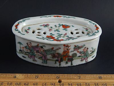 Antique Chinese Porcelain Famille Rose Cricket Cage Box Tongzhi Mark 19th C