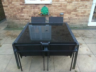 Black Glass Patio Table And 4 Chairs